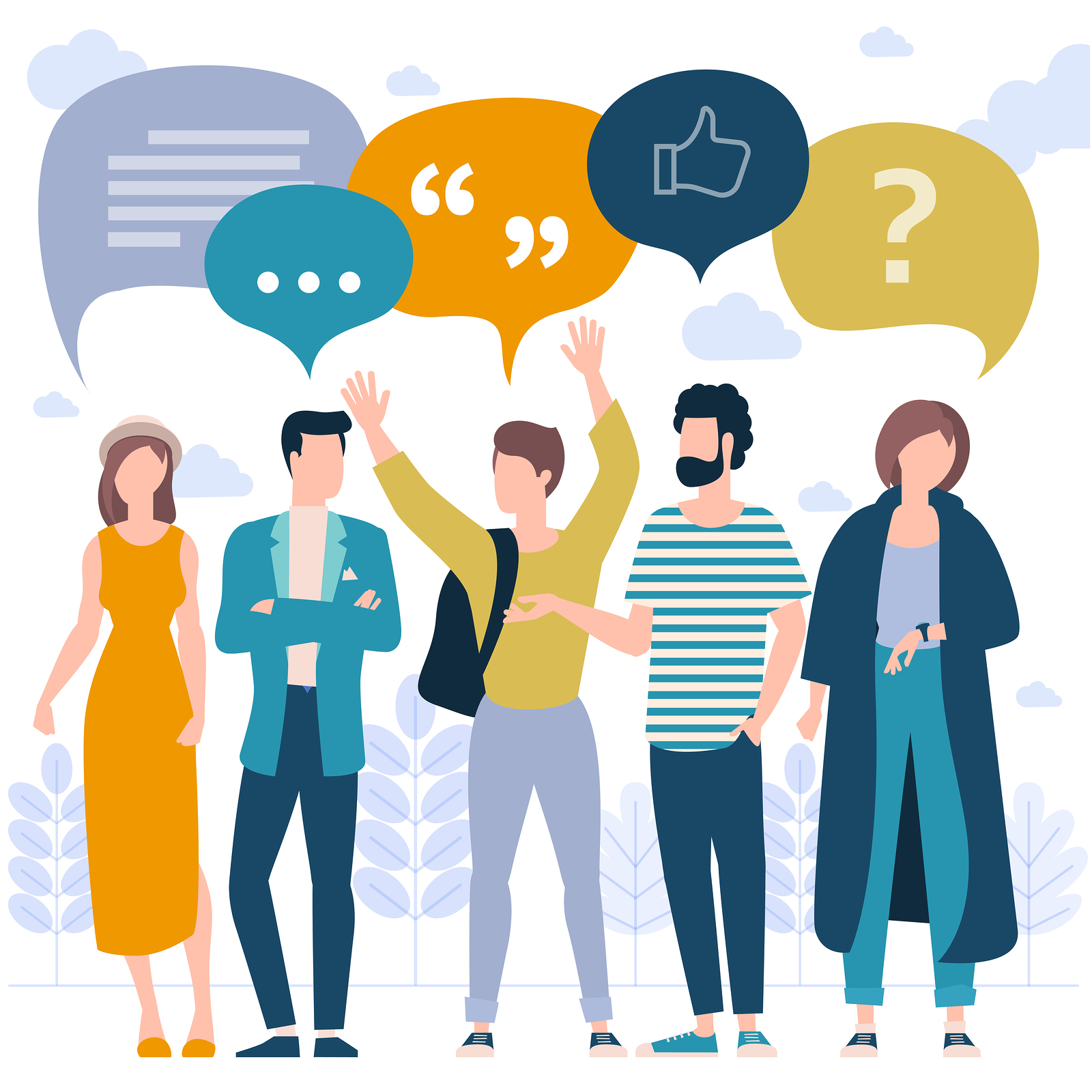 Flat design trendy color vector people with blank speech bubbles. Different characters, styles and professions, standing together diverse acting poses collection.